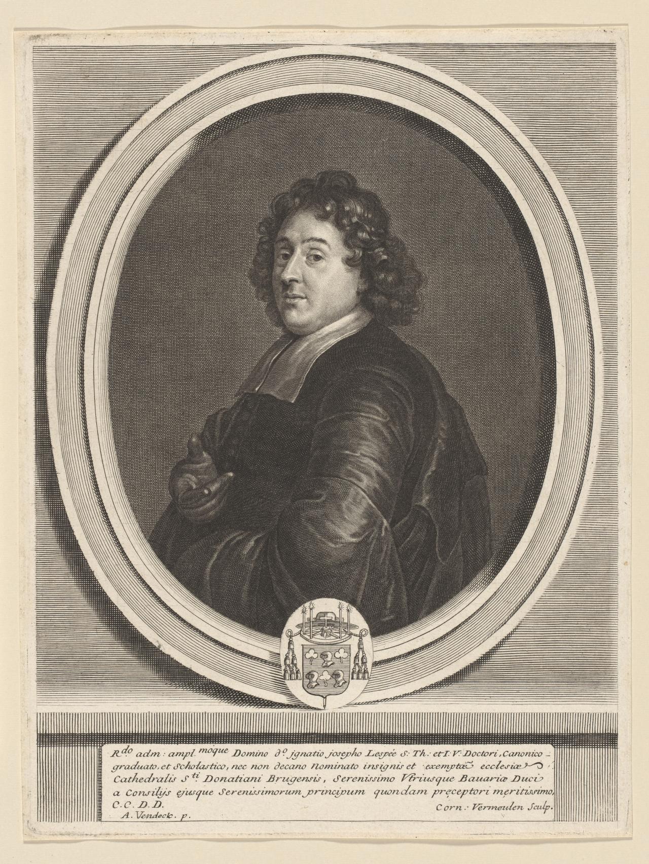 Corn Van Dijck.Canon Ignatius Joseph Lespee Cornelis Vermeulen Engraver