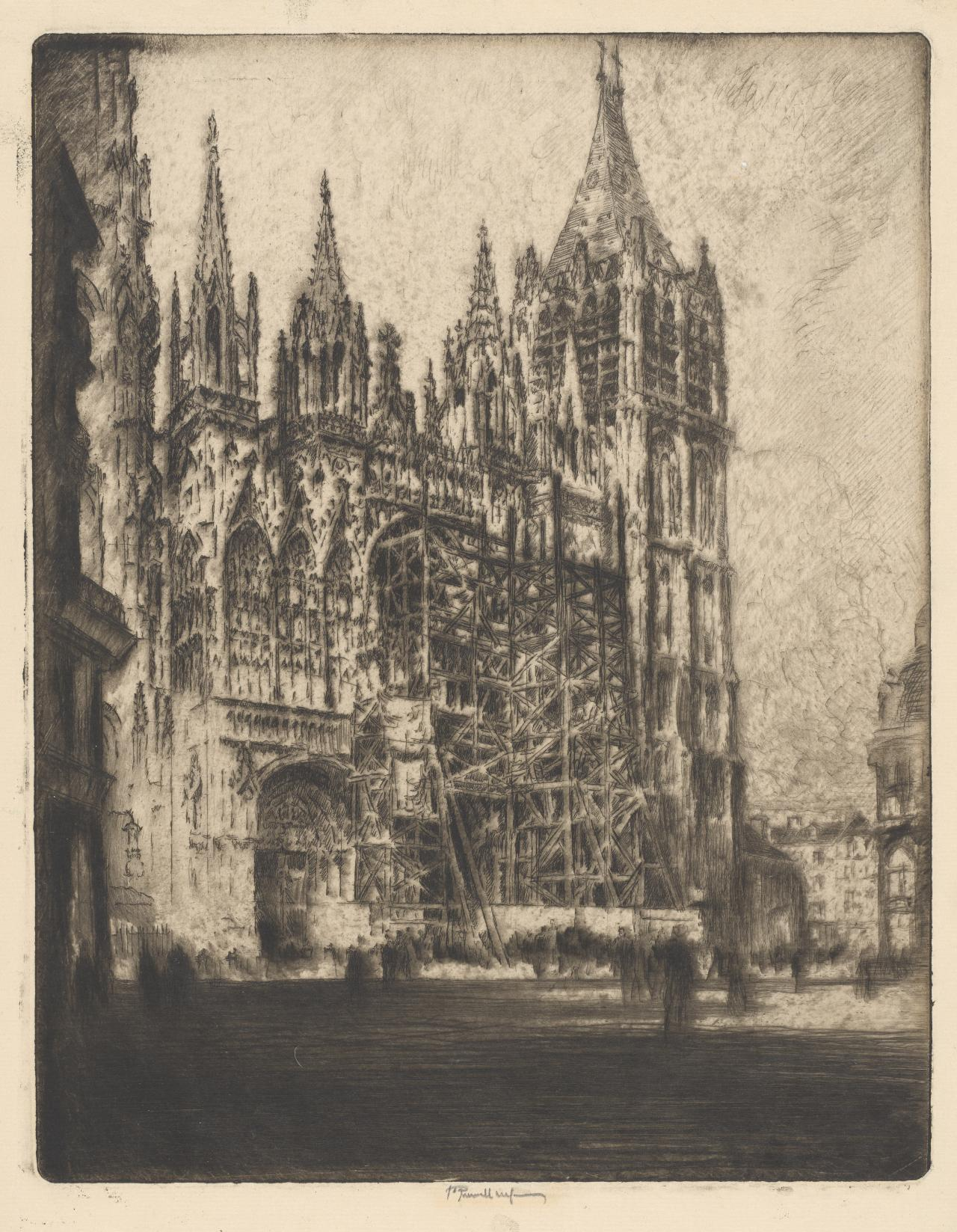 Rouen Cathedral, the west front, during restoration