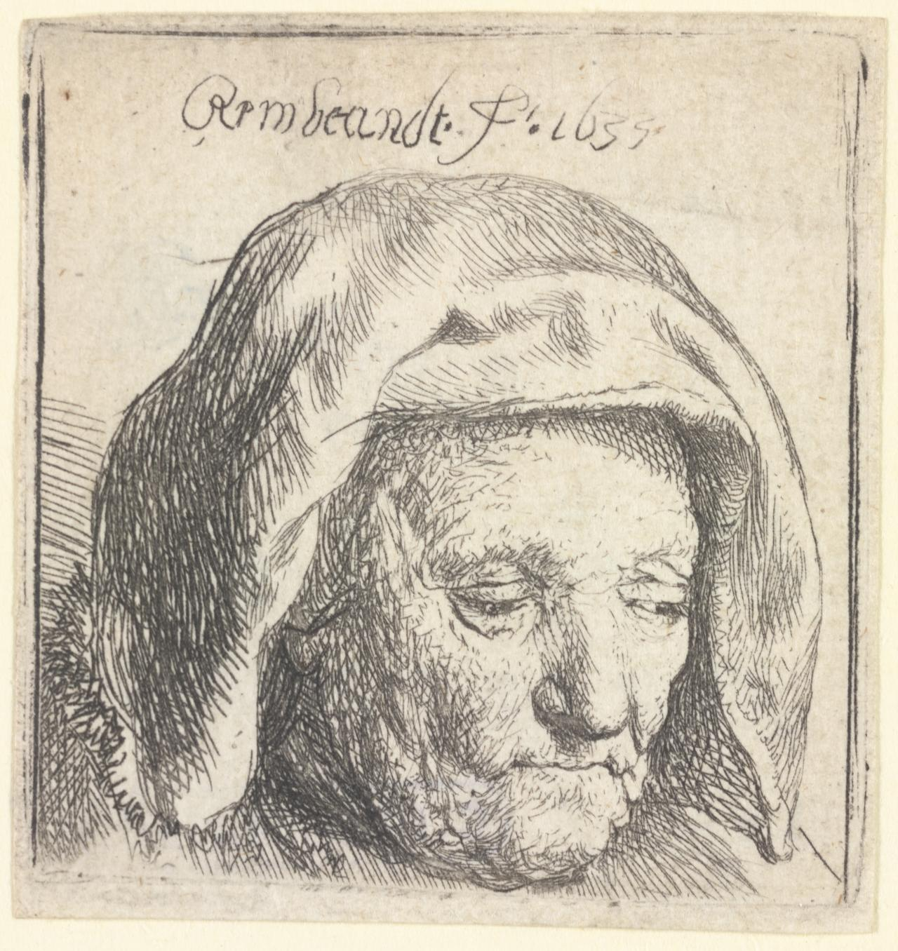 Rembrandt's Mother in a Cloth Head-dress,Looking Down:Head Only.