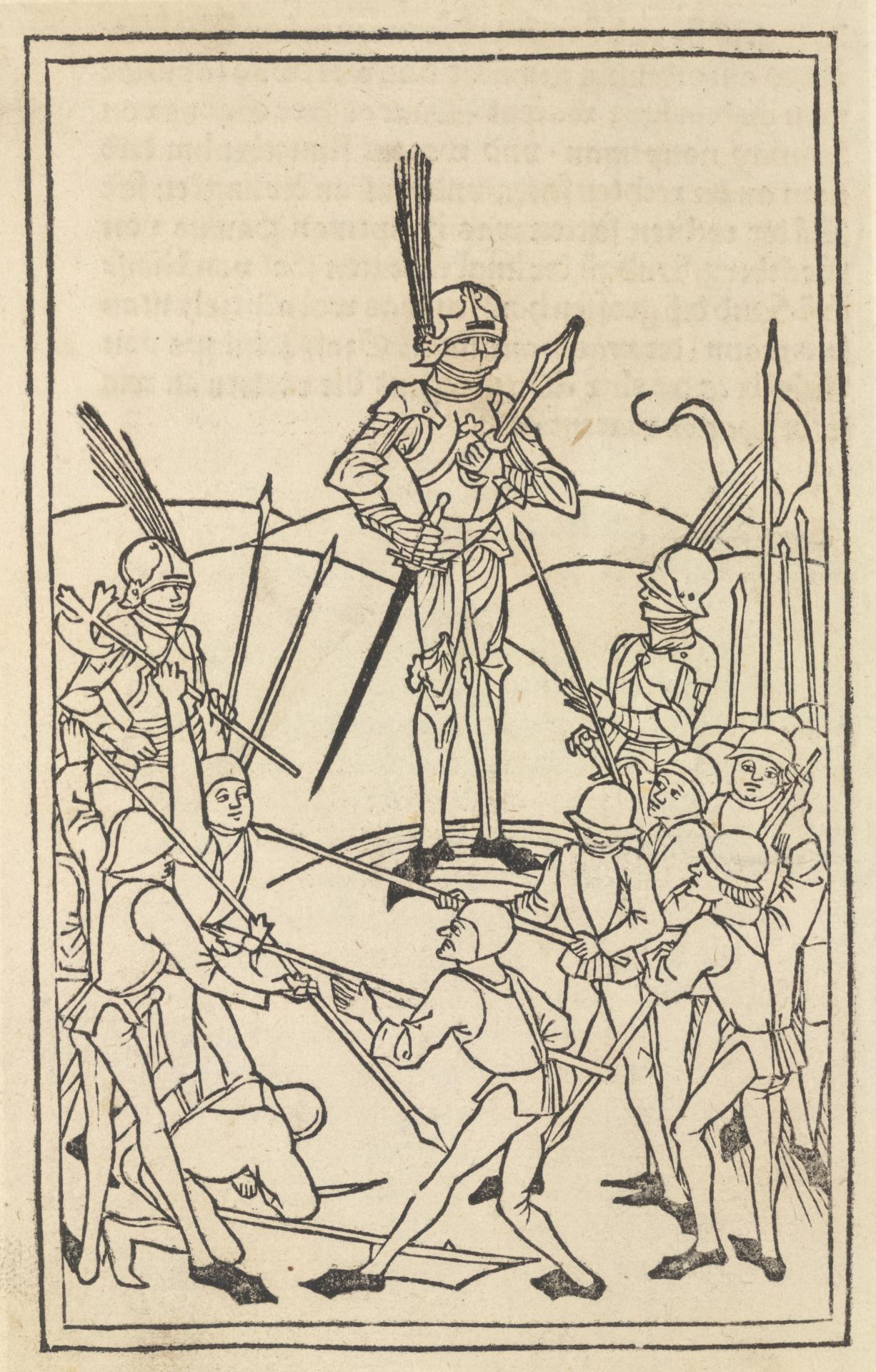 Untitled, illustration to Thomas Lirer's Chronica von allen Königen und Kaisern (scene depicting knight in armour looking down upon sparring soldiers)