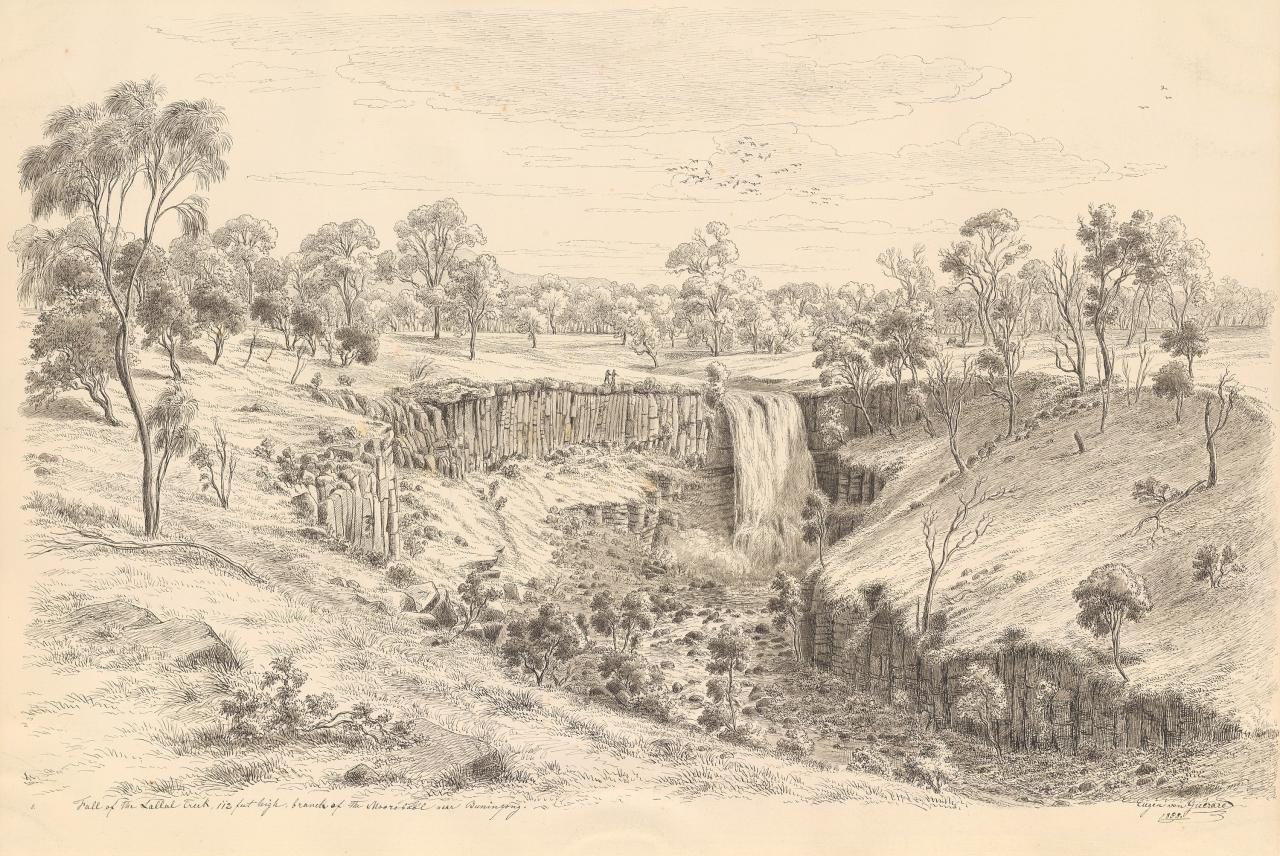 Fall of the Lallal creek, 112 feet high, branch of the Moorobool near Buninyong