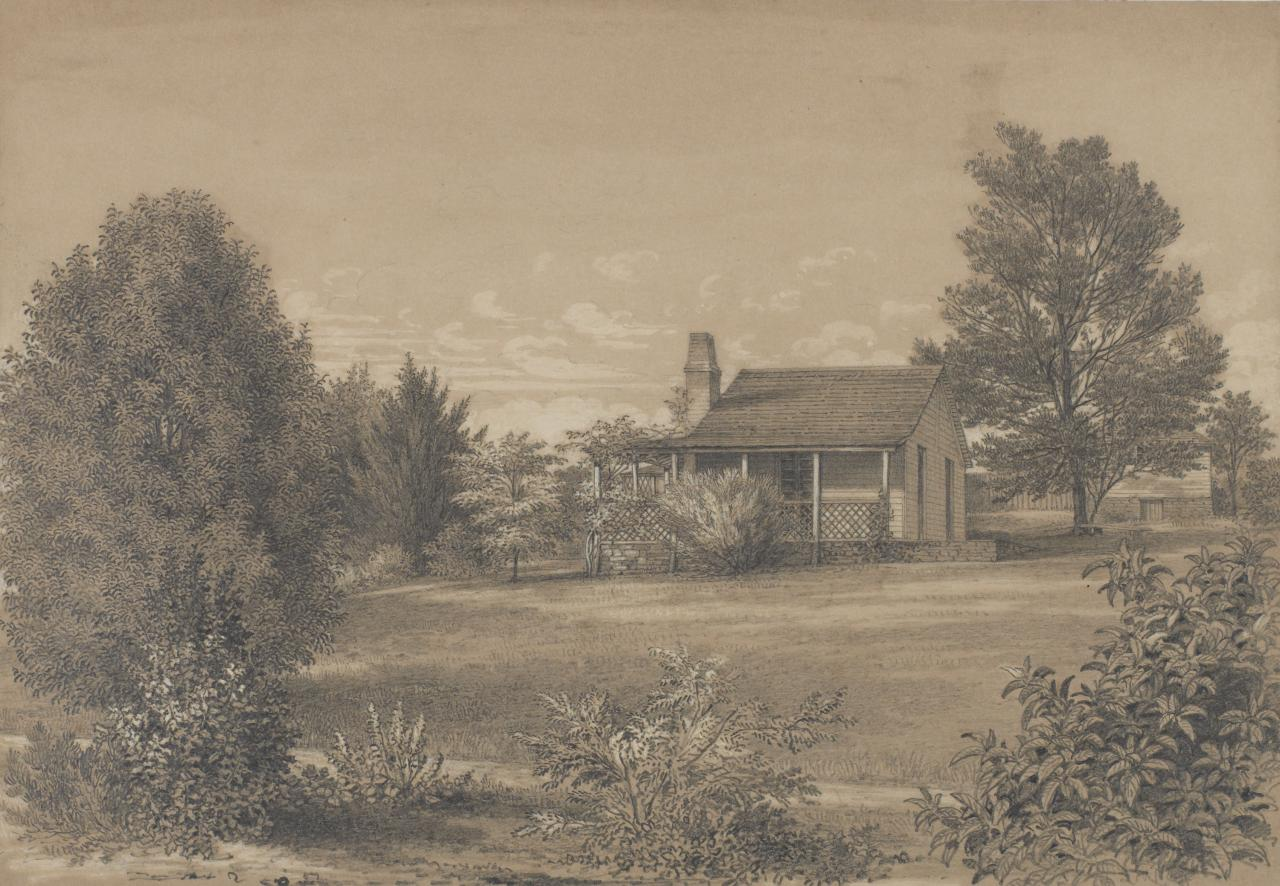 View of the Station Plenty, Port Phillip district (III House with lattice-work verandah and garden)