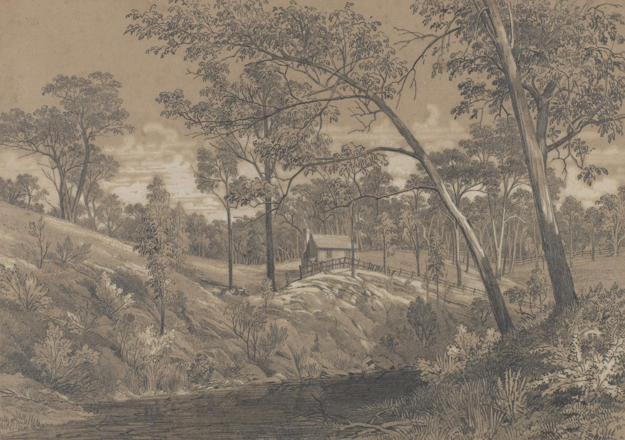 (Distant view of hut with Plenty River in foreground)