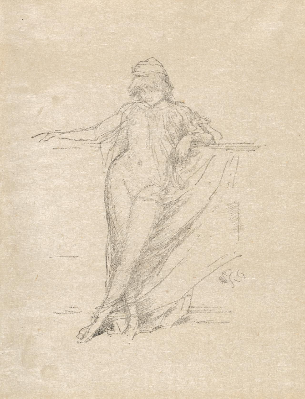 Little draped figure, leaning