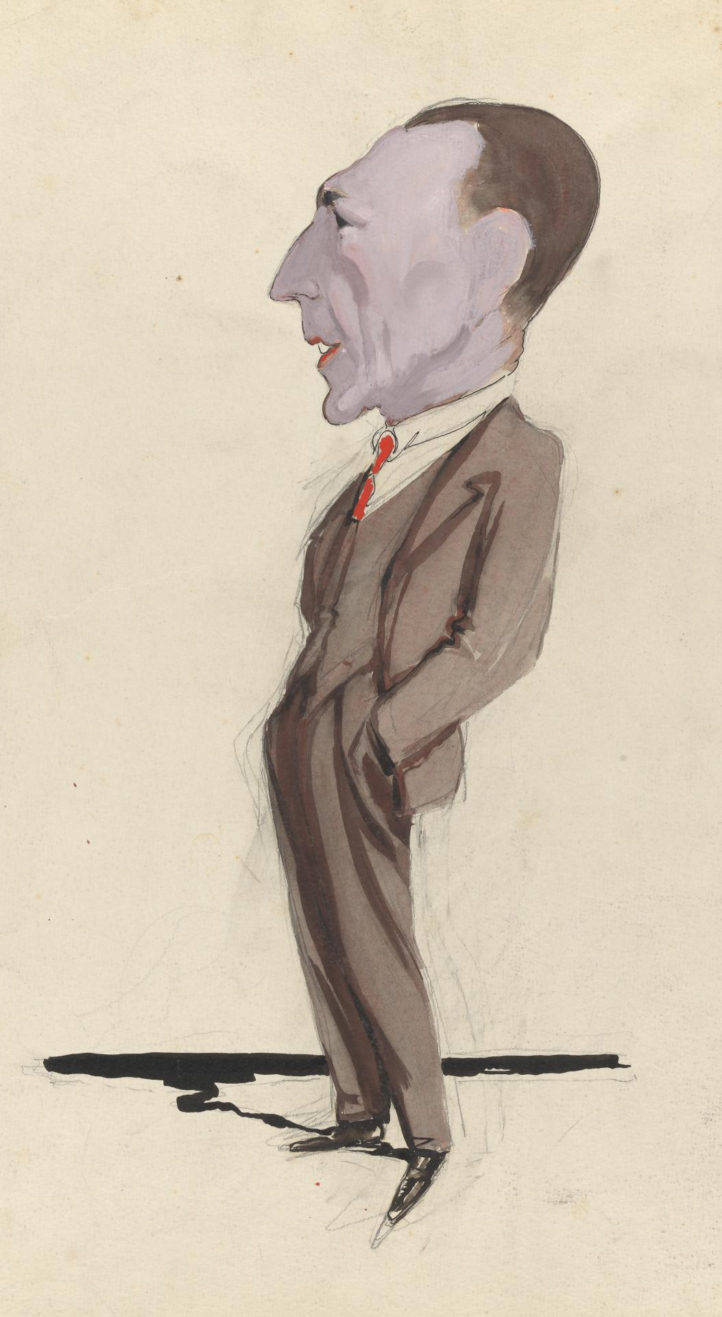 (Caricature of standing figure)