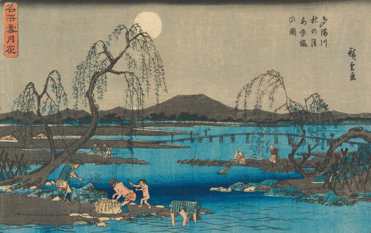 Trout fishing in the autumn moon, at the river Tama