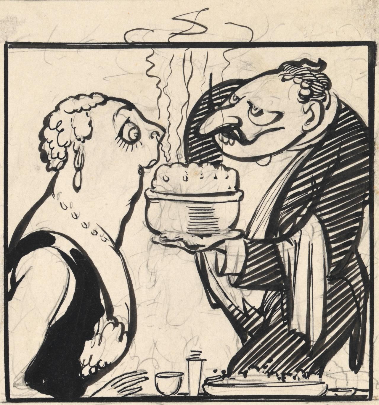 A foreign agent of food traffickers tempting a stylish stout. From Dr Whooper's collection