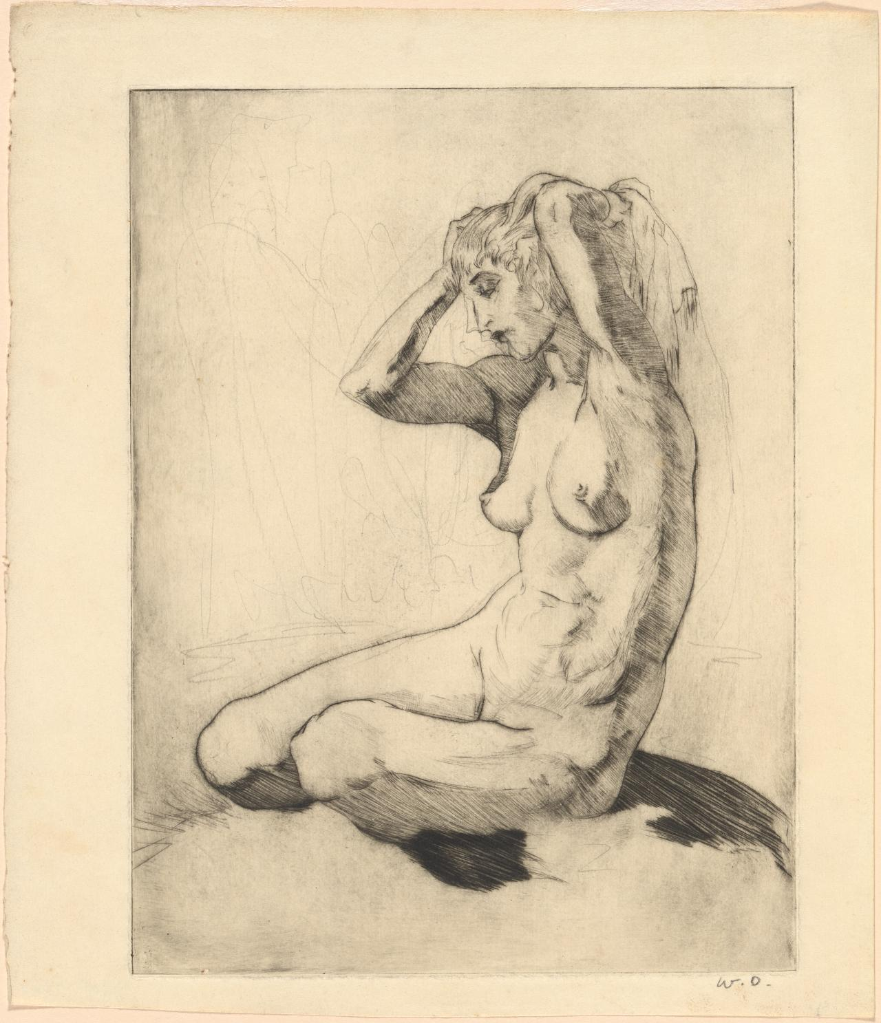 (Untitled) (Seated nude with knees bent and arms raised)