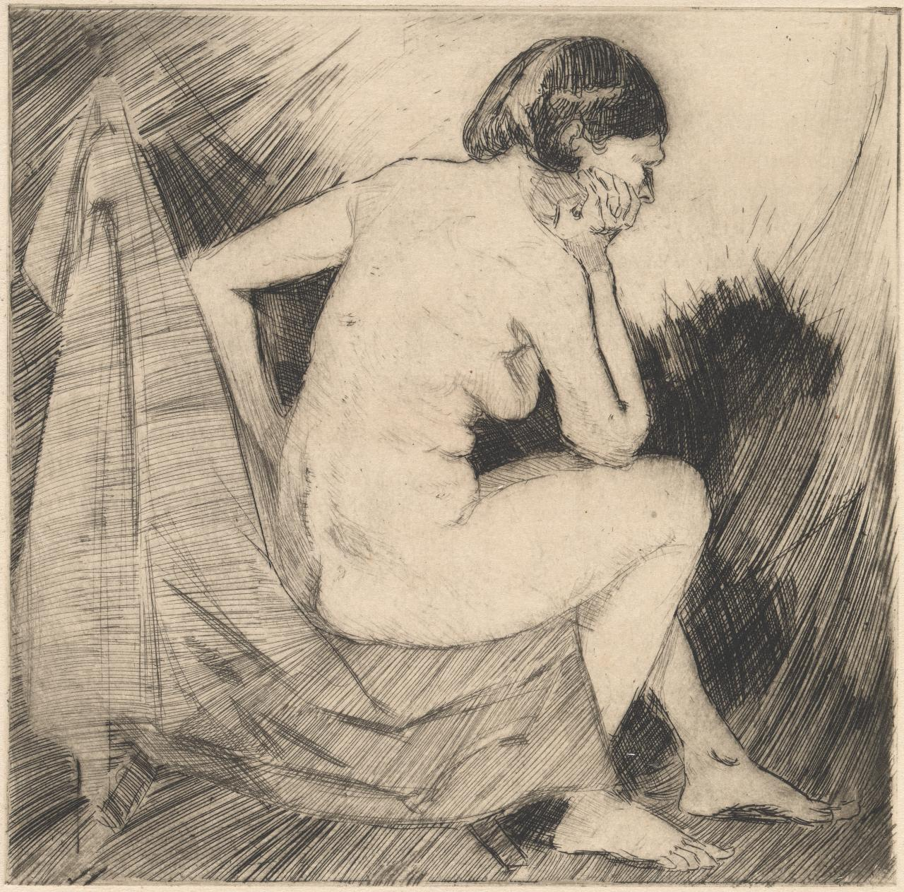 (Untitled) (Backview of seated nude with elbow leaning on knee and head resting on hand)