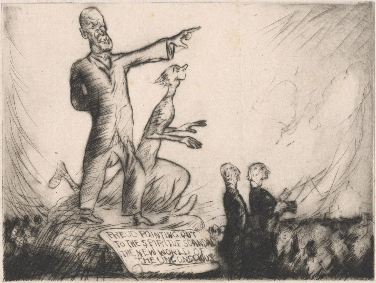 Our psychoanalysts: Freud pointing out to the spirit of scandal the new world of the unconscious