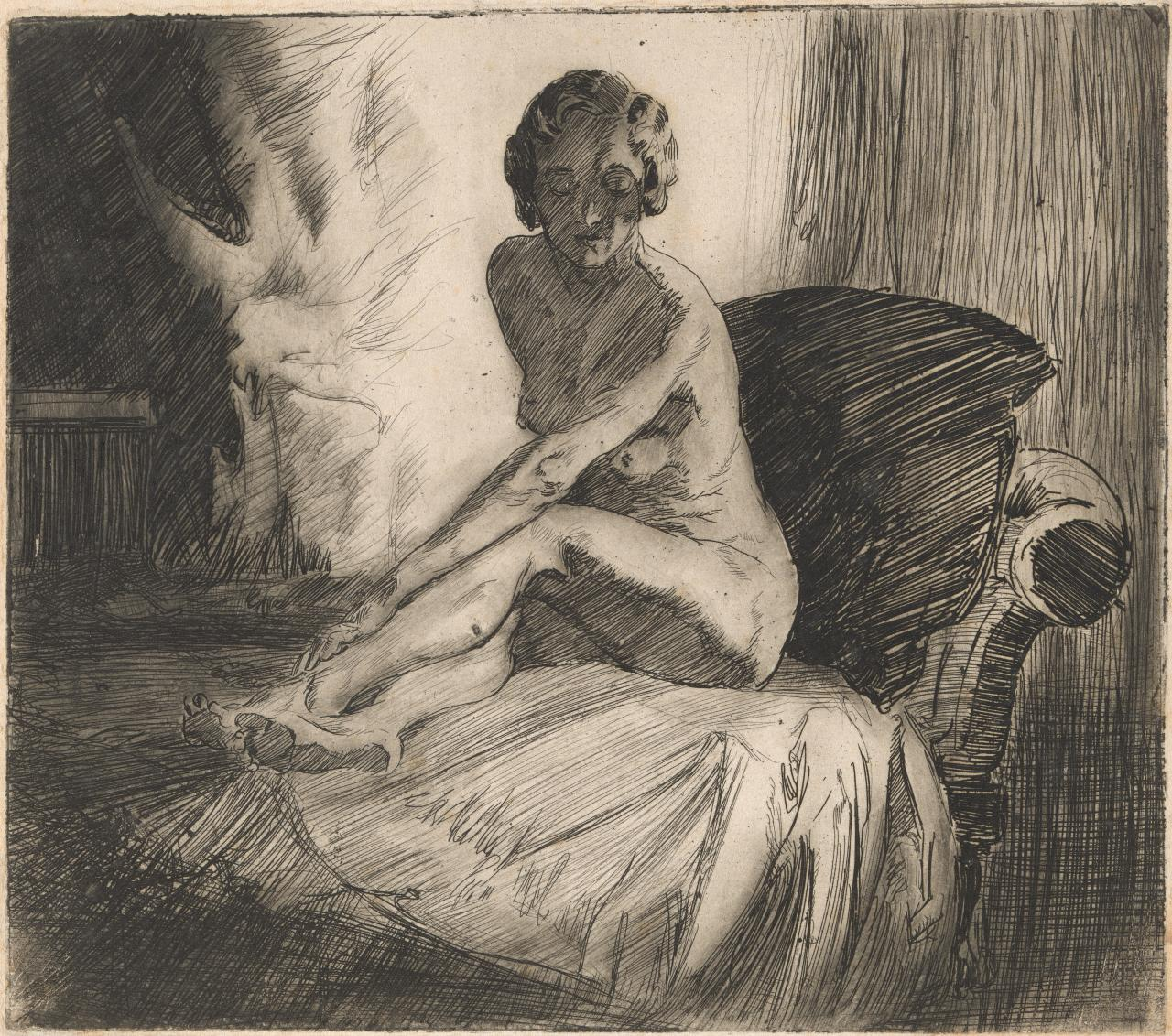 (Untitled) (Nude seated on chair with cushion, reaching towards her feet)