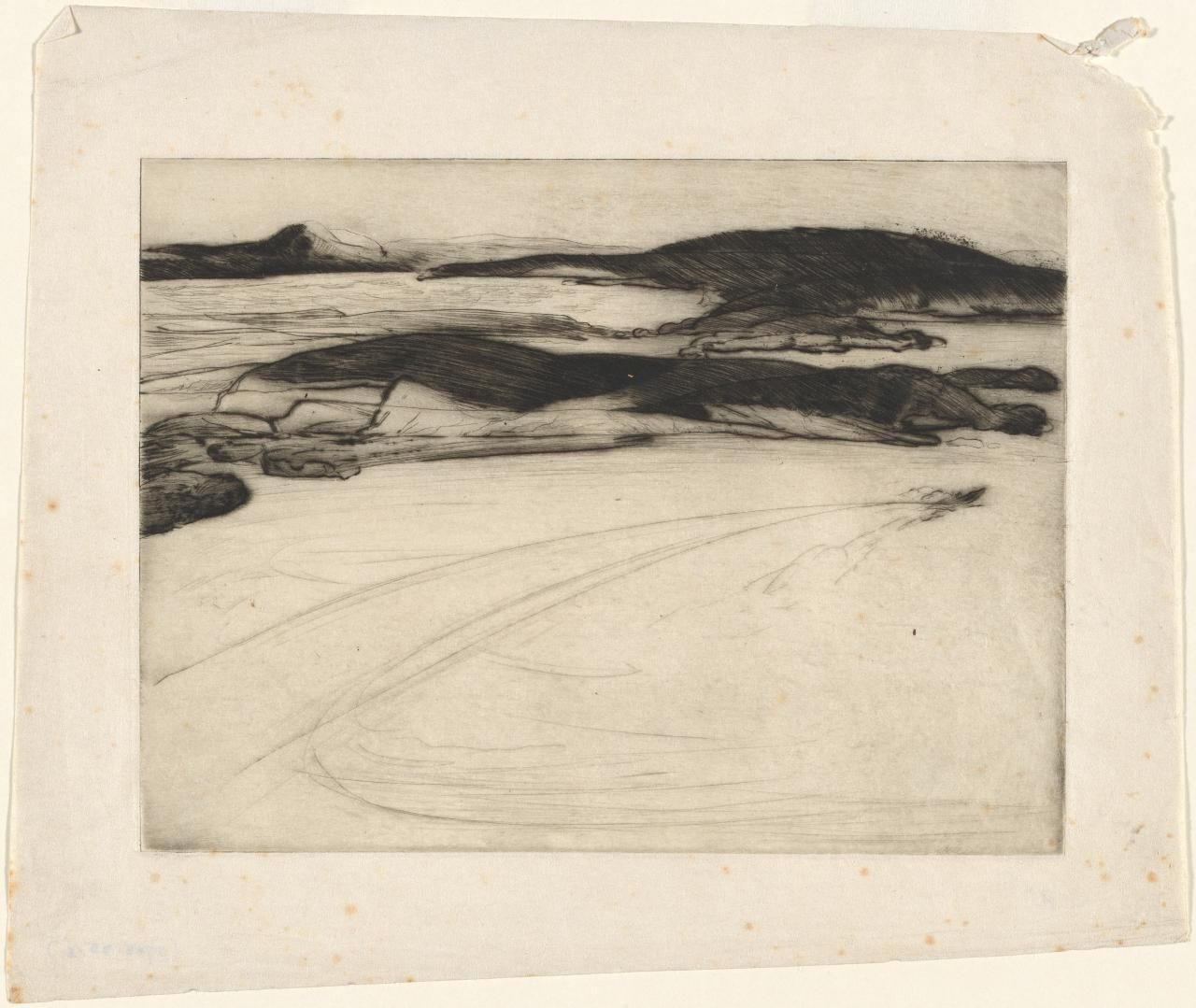 (Untitled) (Coastal landscape - inlets and peninsulas - speed-boat in foreground)