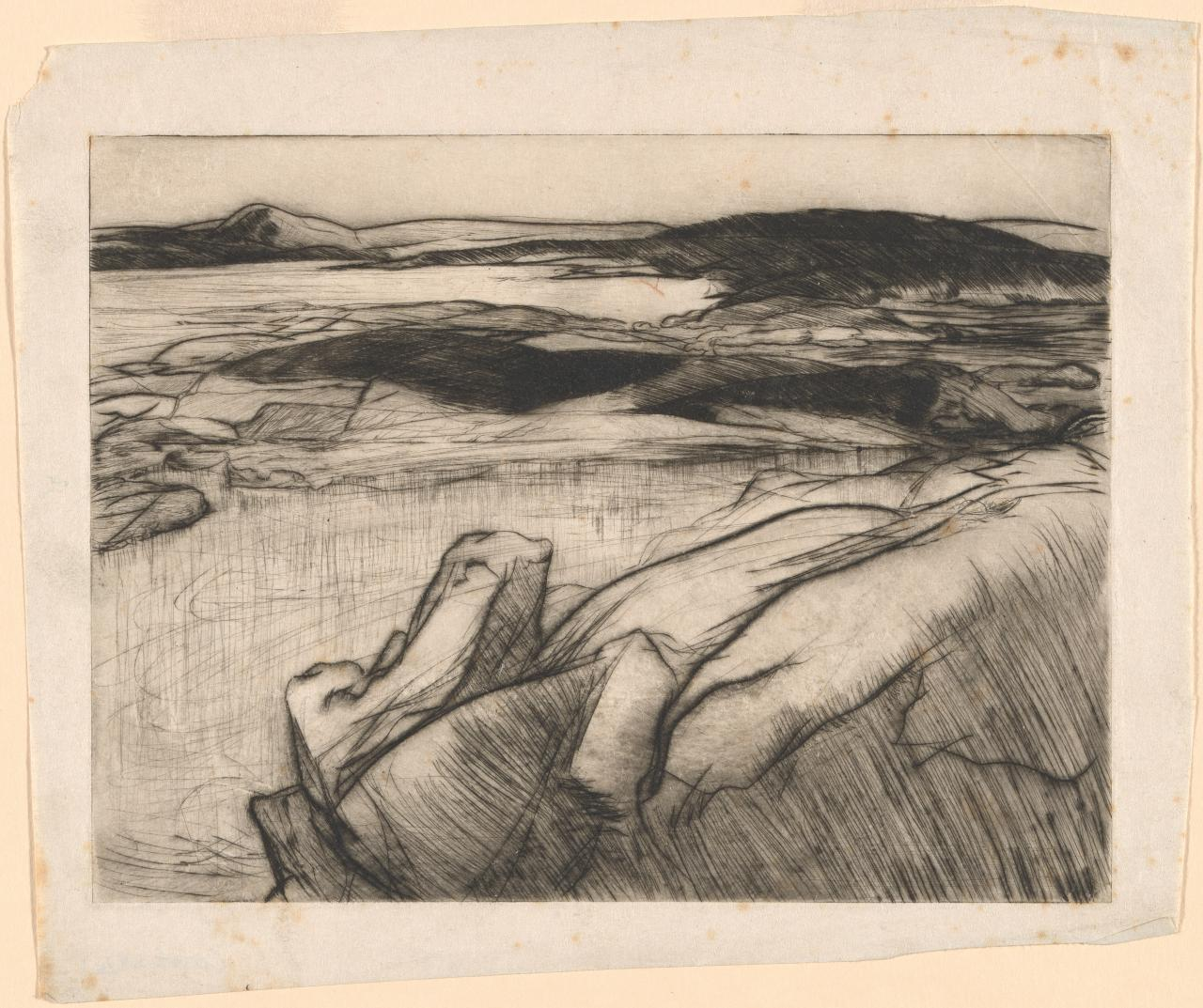 (Untitled) (Coastal landscape with rocks in foreground)