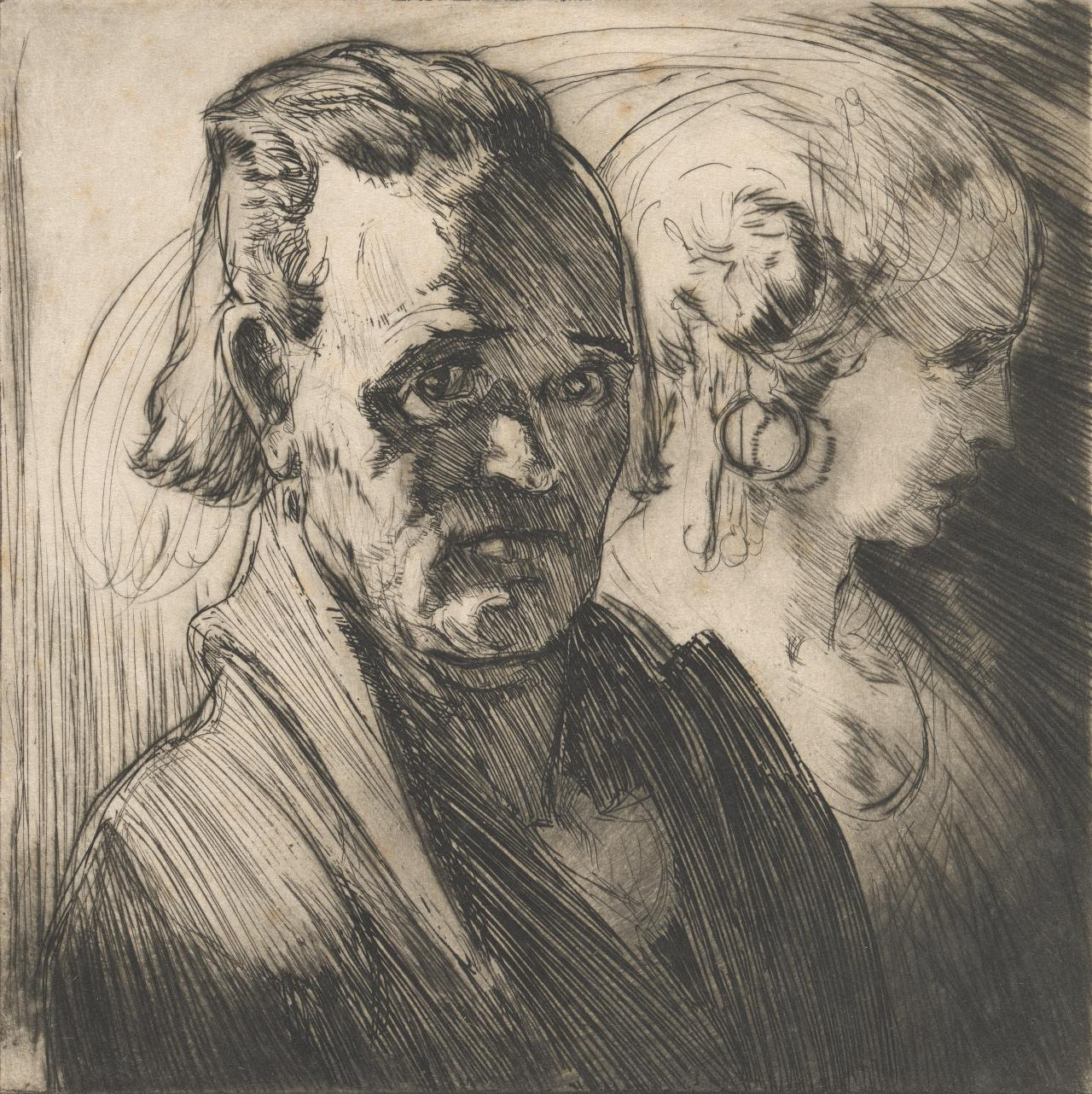 (Untitled) (Man with woman in profile in background)