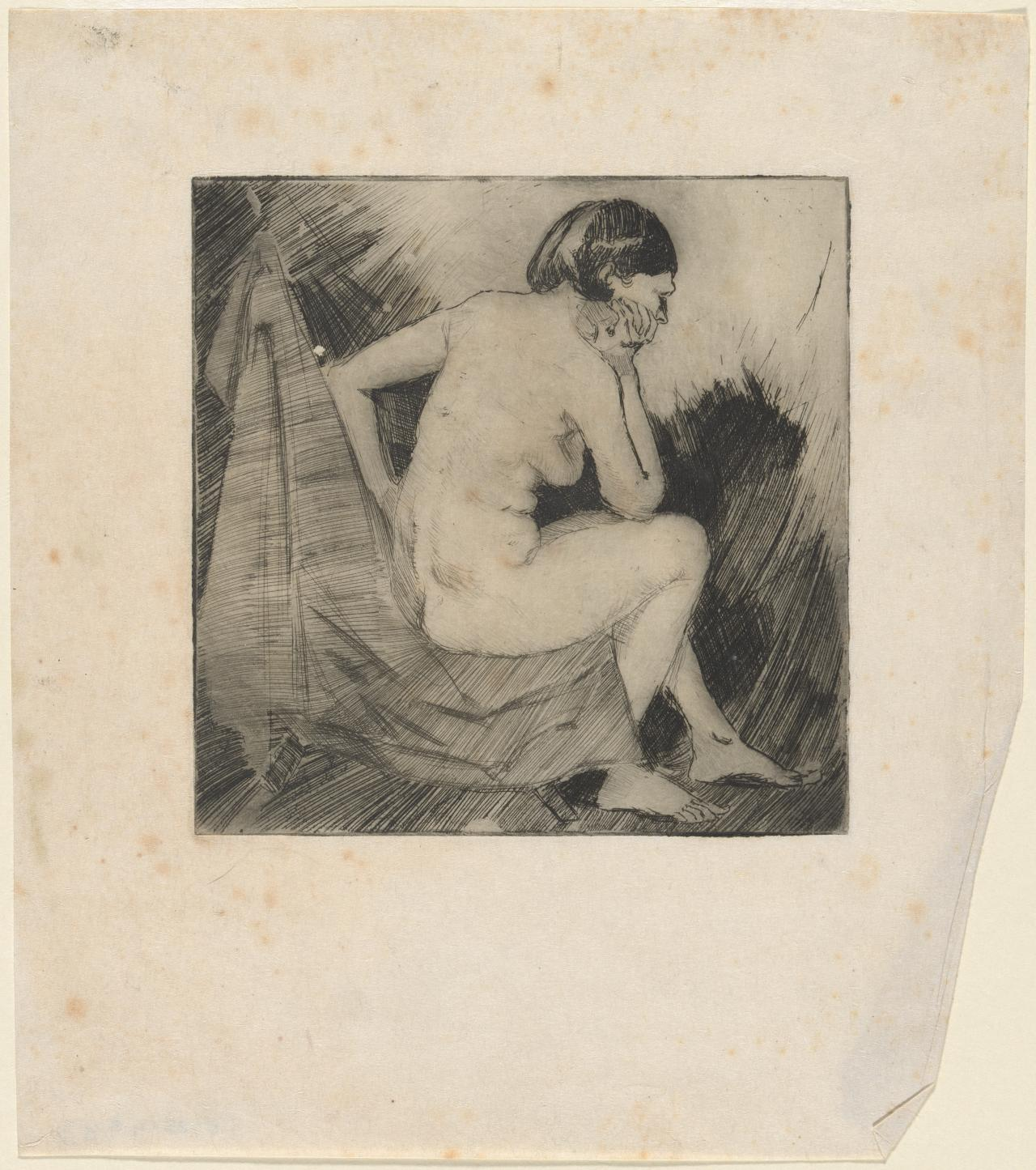(Untitled) (Back view of seated nude leaning her elbow on knee and head resting on hand)