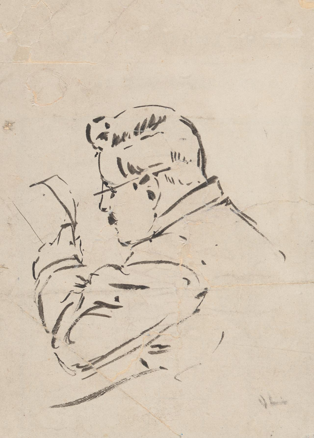 Sketch of Sir John Longstaff