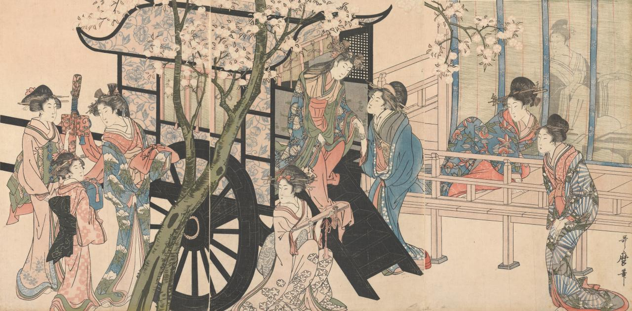 A Tokugawa princess descending from a carriage (left)