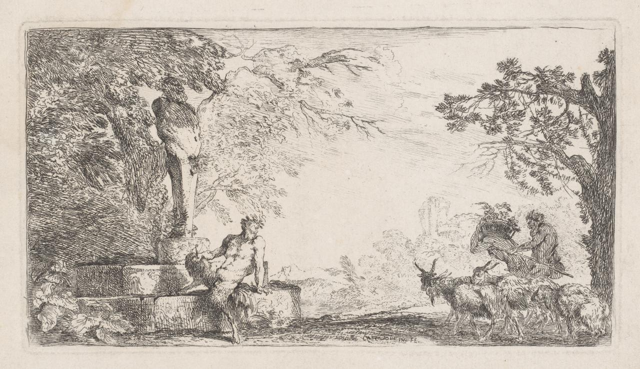 A satyr or Pan seated at the foot of a herm