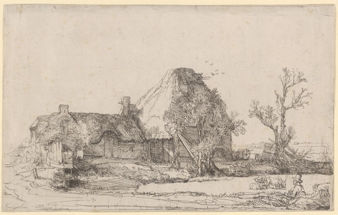 Cottage and Farm Buildings with a Man Sketching.