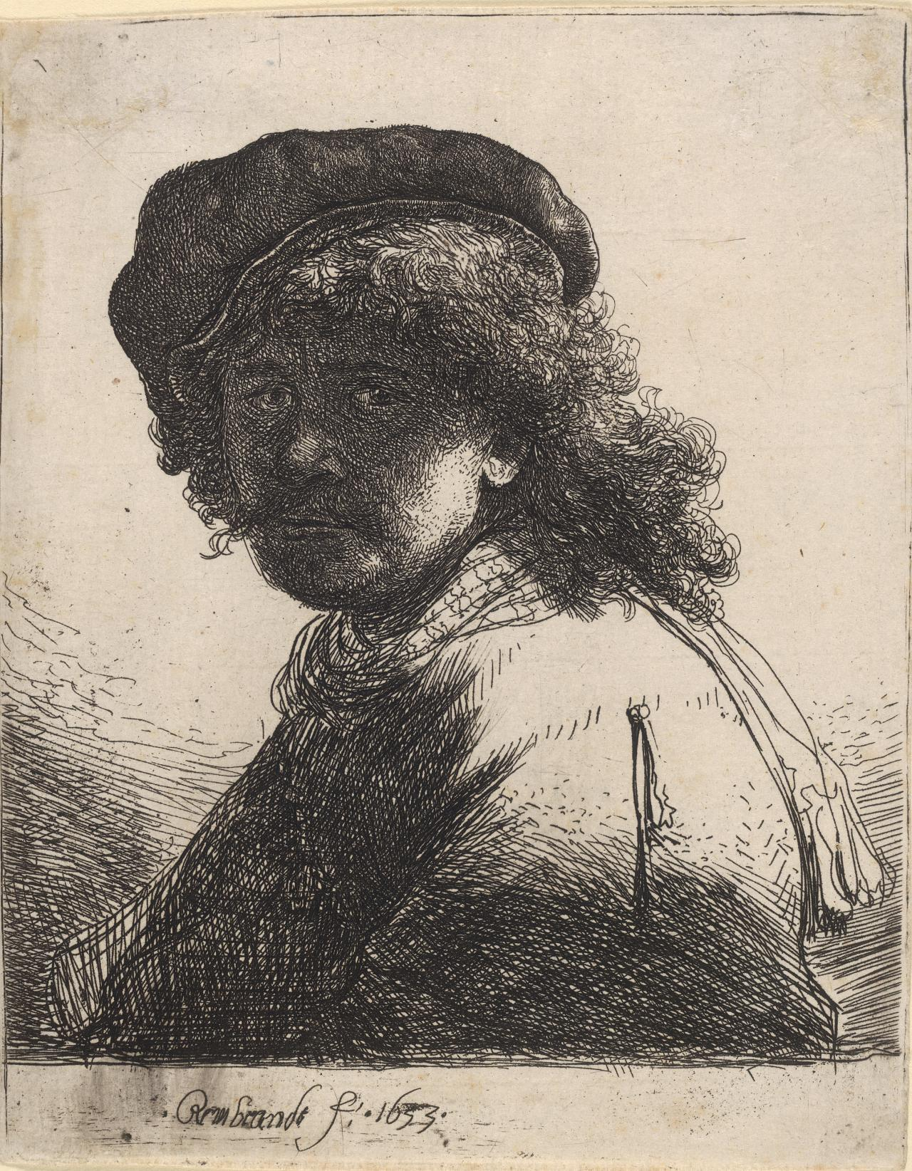 Rembrandt in Cap and Scarf:The Face Dark:Bust.