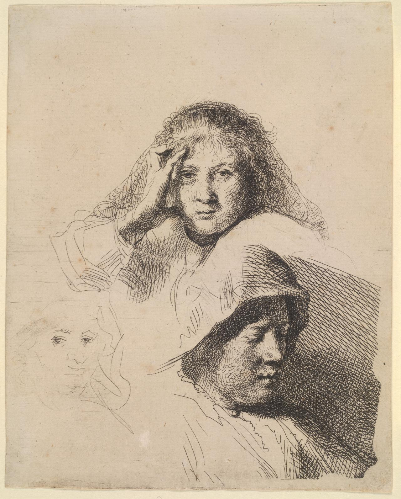 Three Heads of Women,One Lightly Etched.