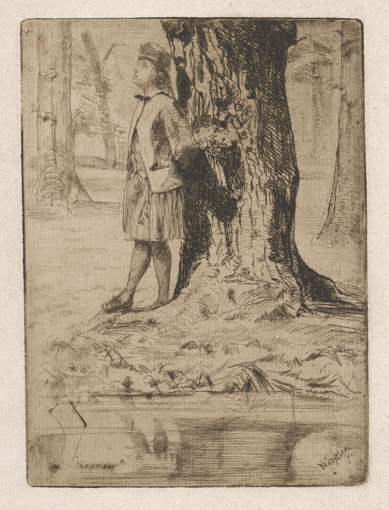 Seymour, standing under a tree