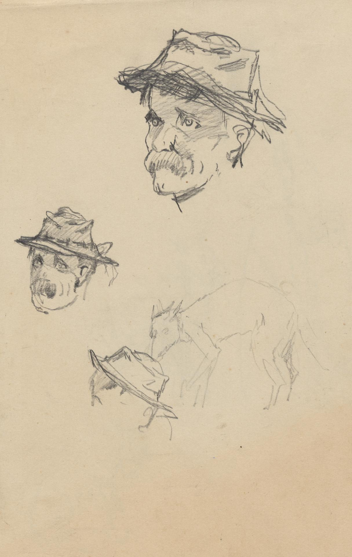 (Study of three heads and a dog)