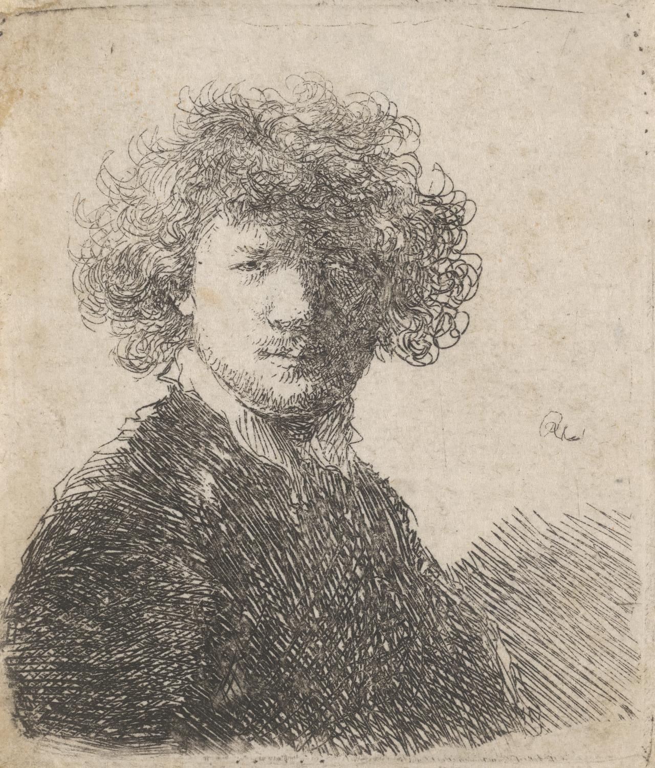 Rembrandt bareheaded, with thick curling hair and small white collar: bust