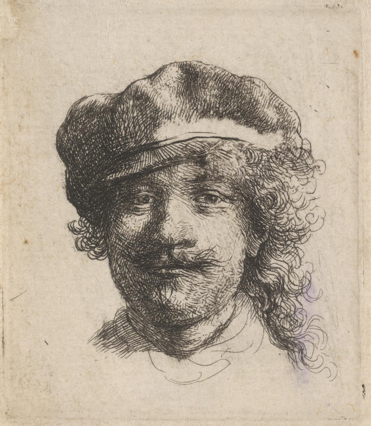 Rembrandt wearing a soft cap: full-face; head only