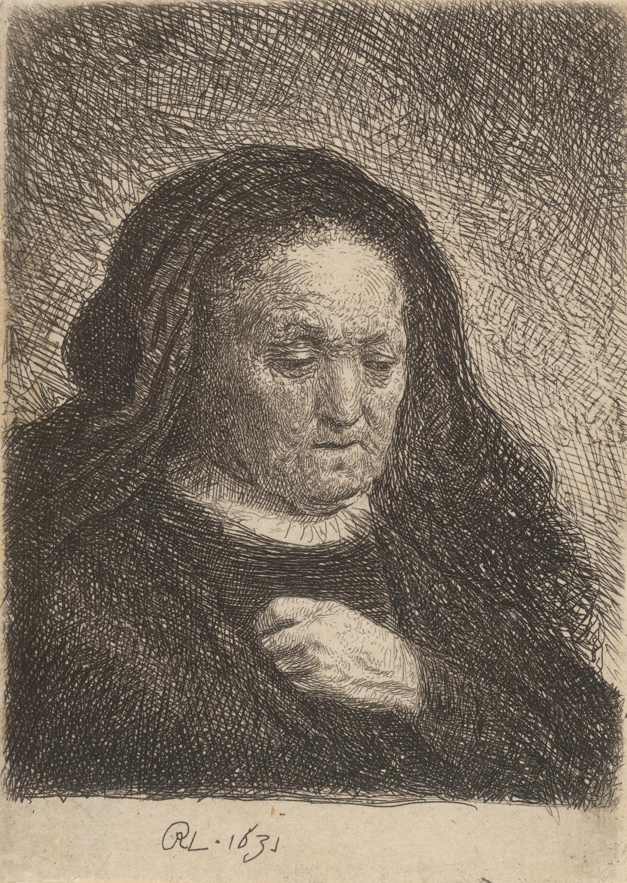 Rembrandt's mother, with hand on chest:small bust