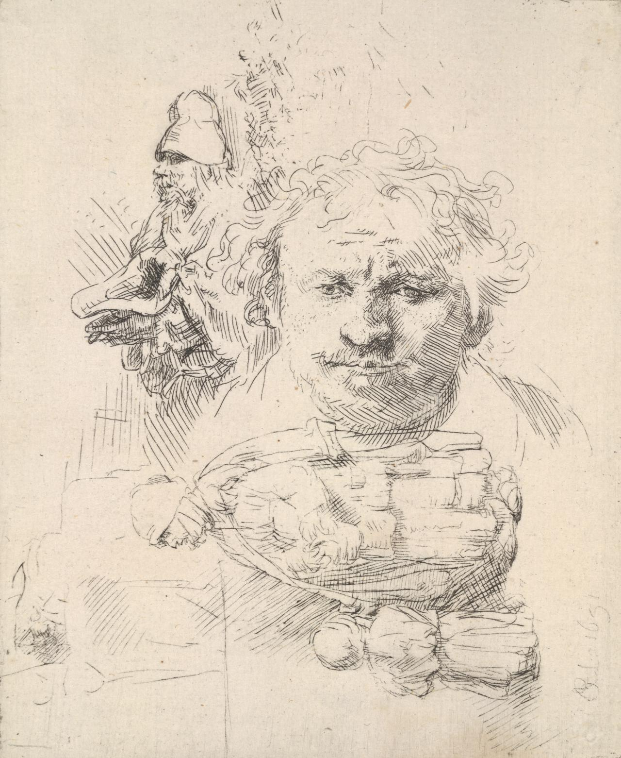Sheet of studies with the head of Rembrandt, a beggar man, woman and child