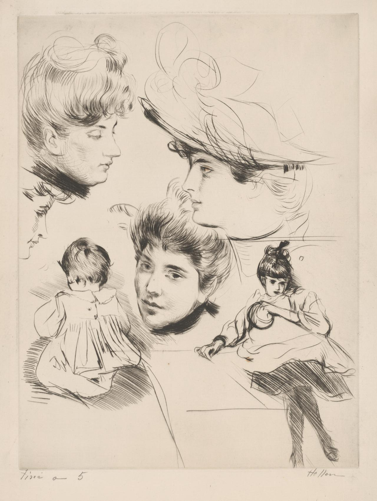 Sheet of studies: Four women's heads and two children
