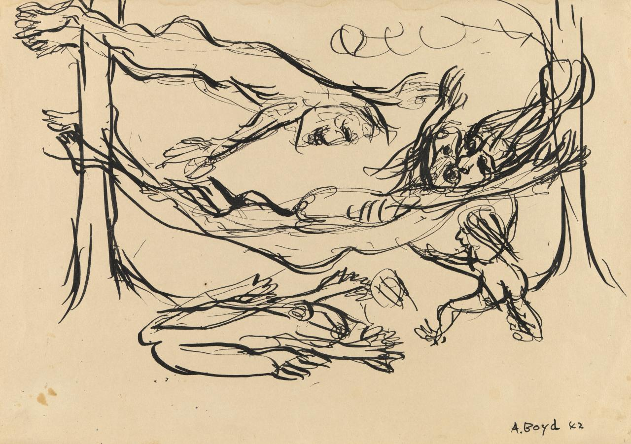 Figures on hammock below flying figure with beast and child