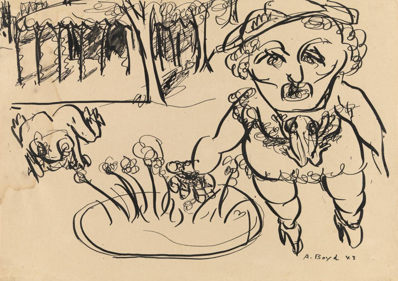 Prostitute with frog brooch, trees and flowerbed