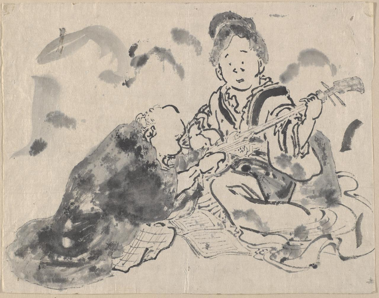 Old man singing and girl with samisen