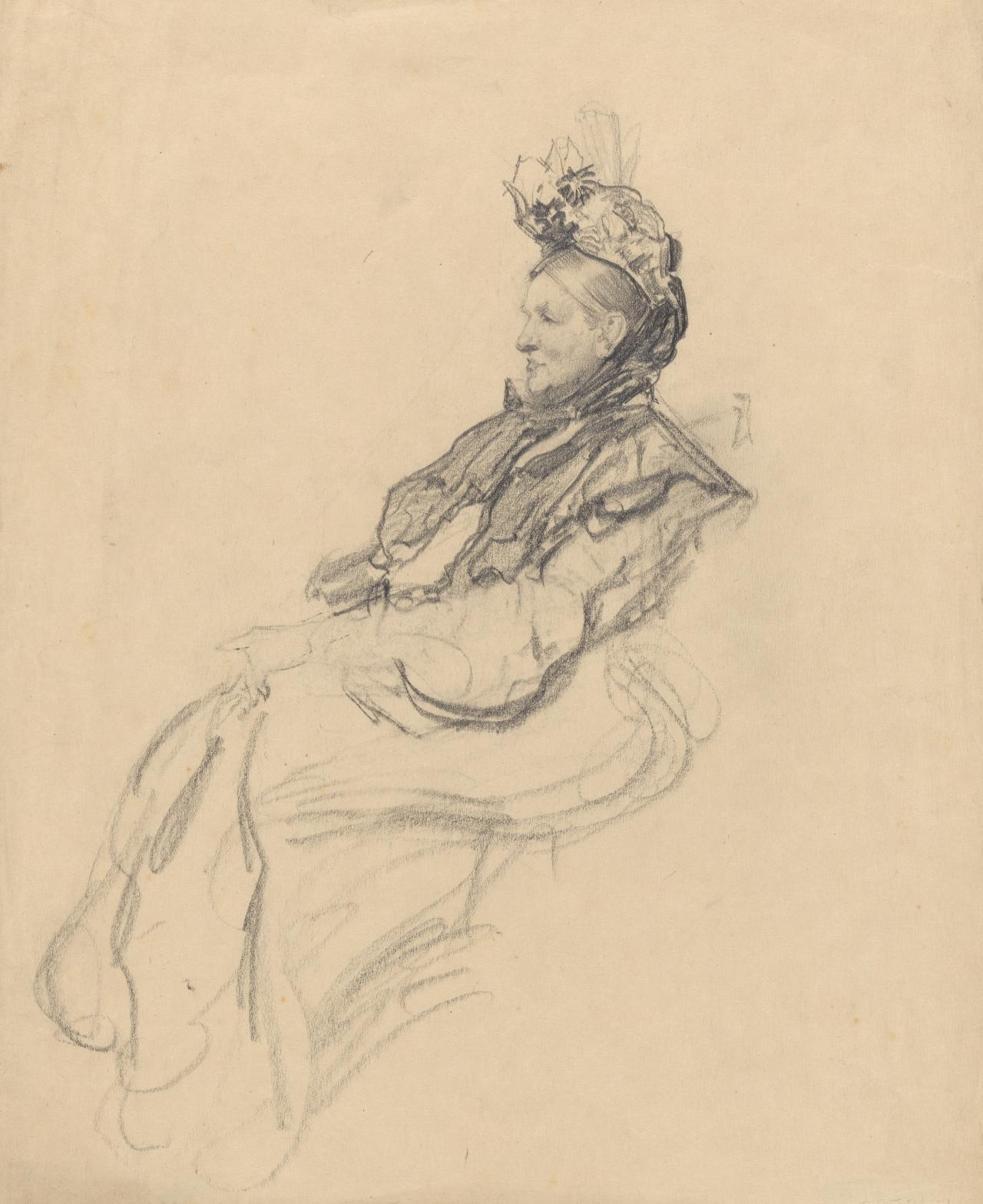 Old lady seated, facing left
