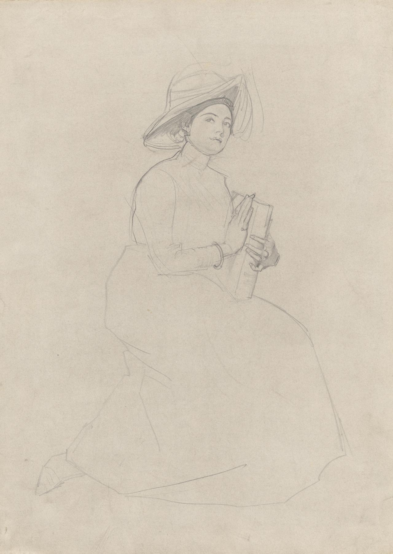 Young woman seated, holding book
