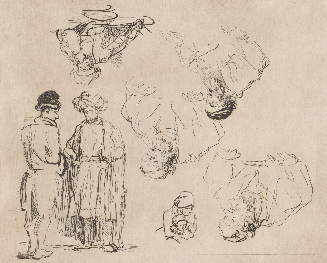 Sheet of studies: two standing men, four men half-length and woman with child