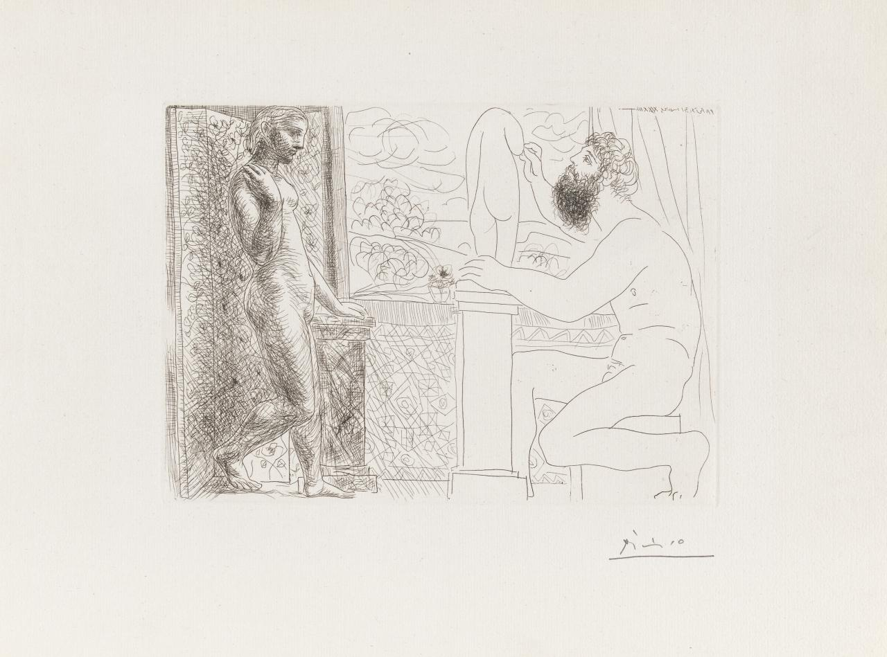 Sculptor seated by a window, working from model