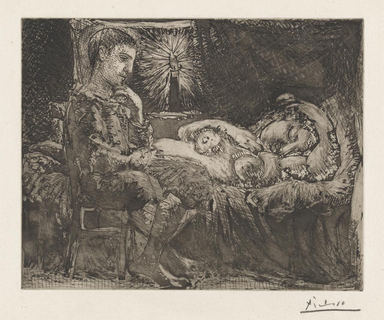 Boy and sleeping girl by candlelight
