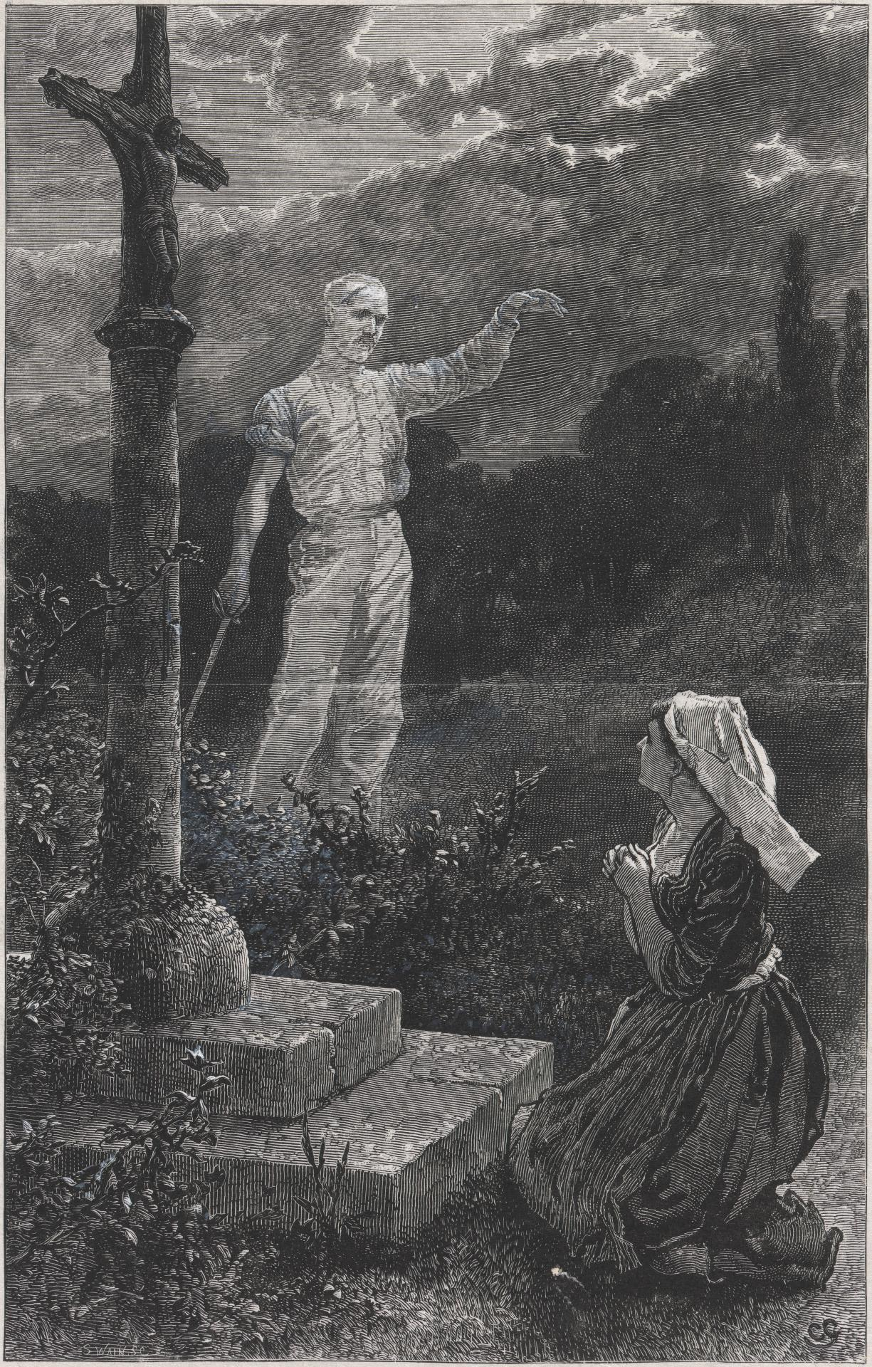 Girl praying and the ghost