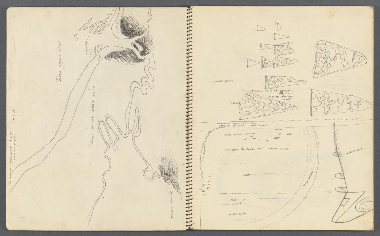 Sketchbook - Charteville, air drawings, above Central Australia