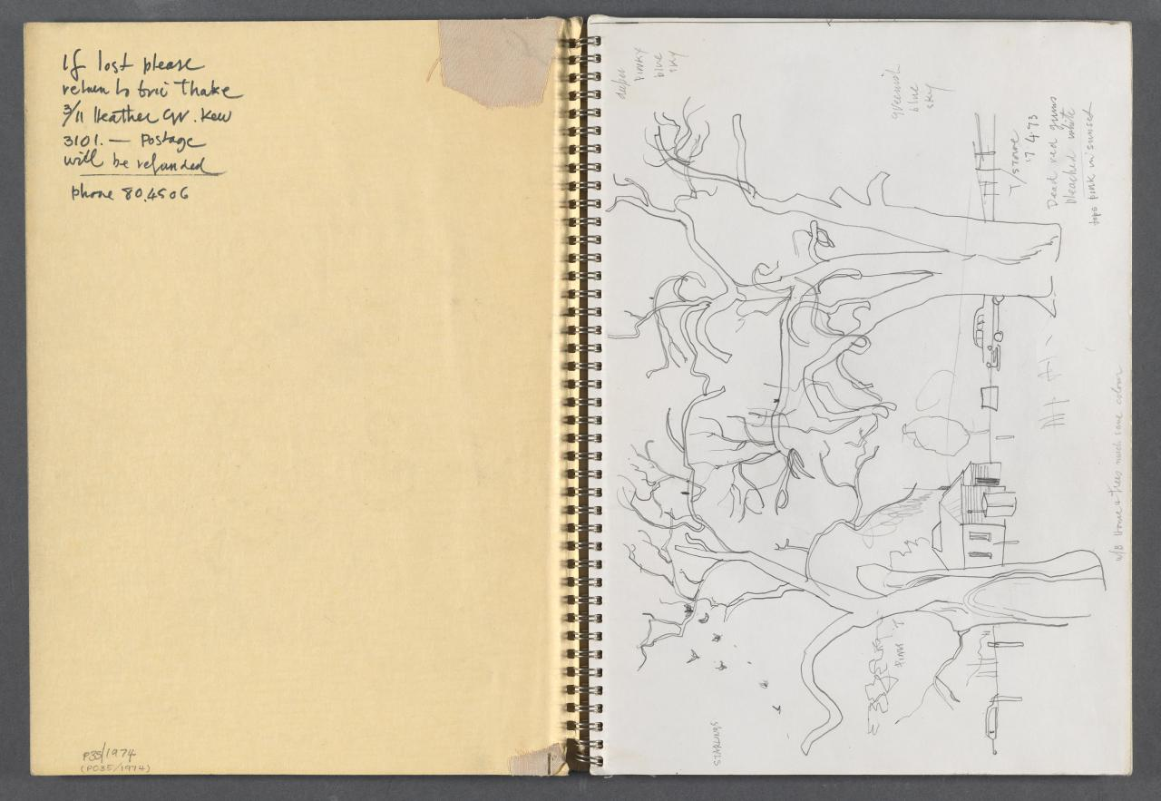 Sketchbook - Ballarat City Fire Brigade, Emu Eggs and silver tree-fern trophies
