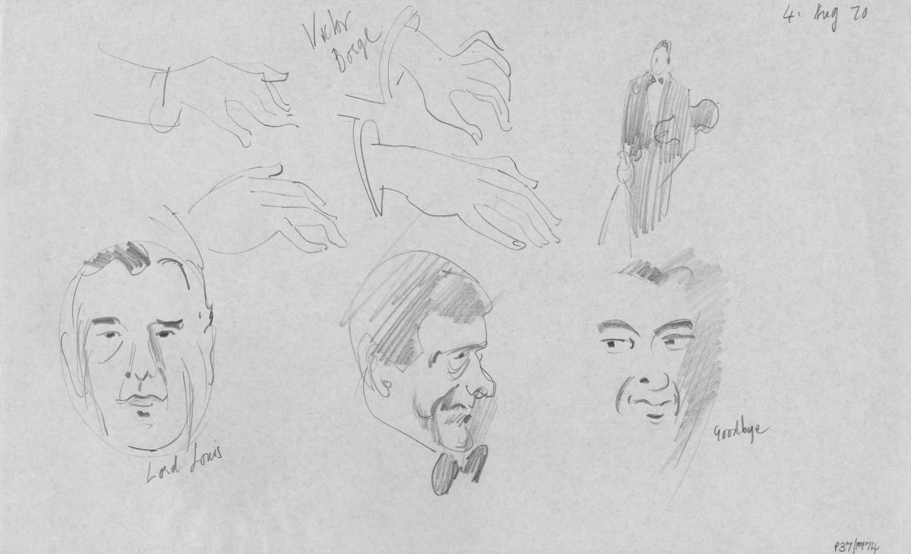 TV drawing: Lord Louis; Victor Borge; goodbye; (profile with bow tie); (violinist)