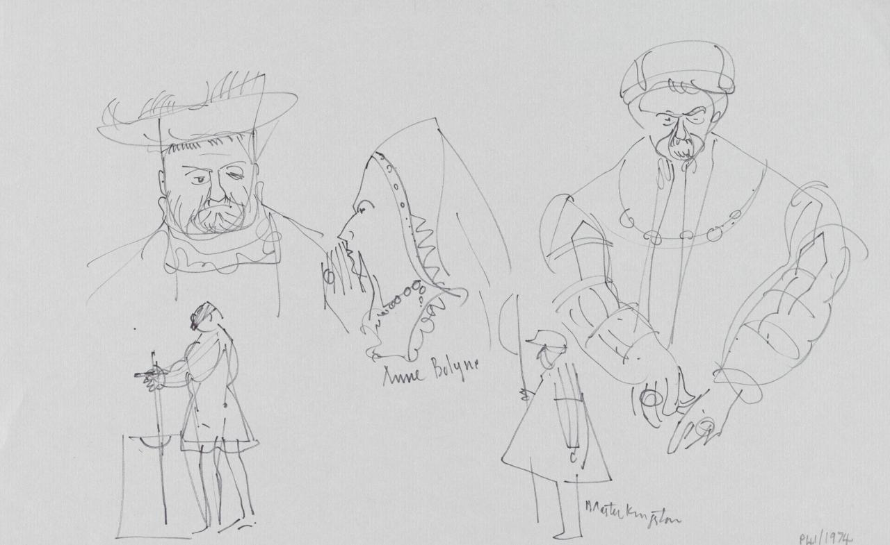TV drawing: Anne Bolyne; Master Kingston; (Regal figures)