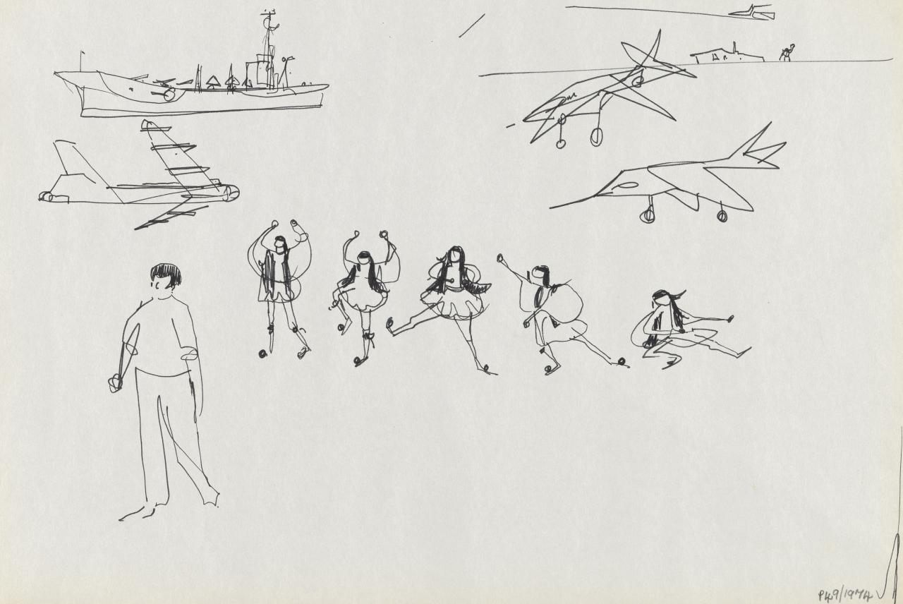 TV drawing: (Dancing Greek Figures); (Battleship and warplanes)