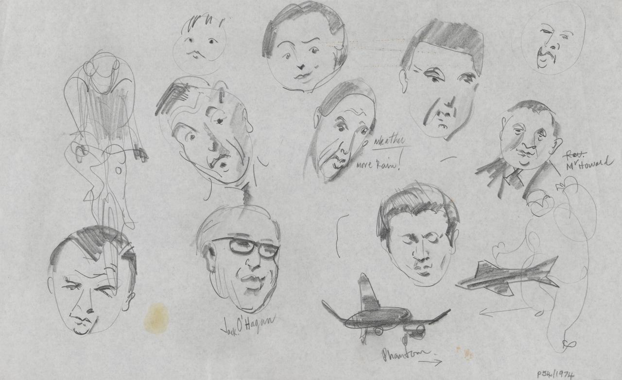 TV drawing: Jack O'Hagan; weather, more rain!; Mr Howard; Phantom; (figure on bicycle); (various male portraits)