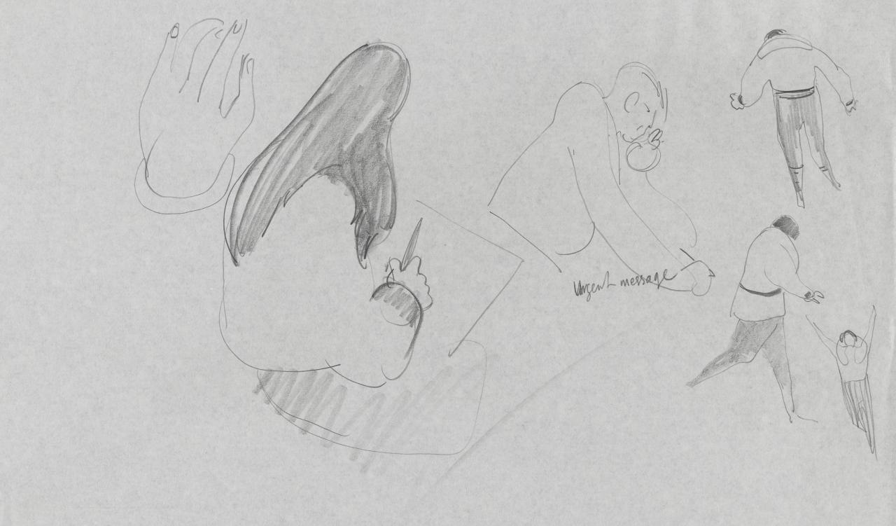 TV drawing: Urgent message; (hand); figure sketching); (figure running)