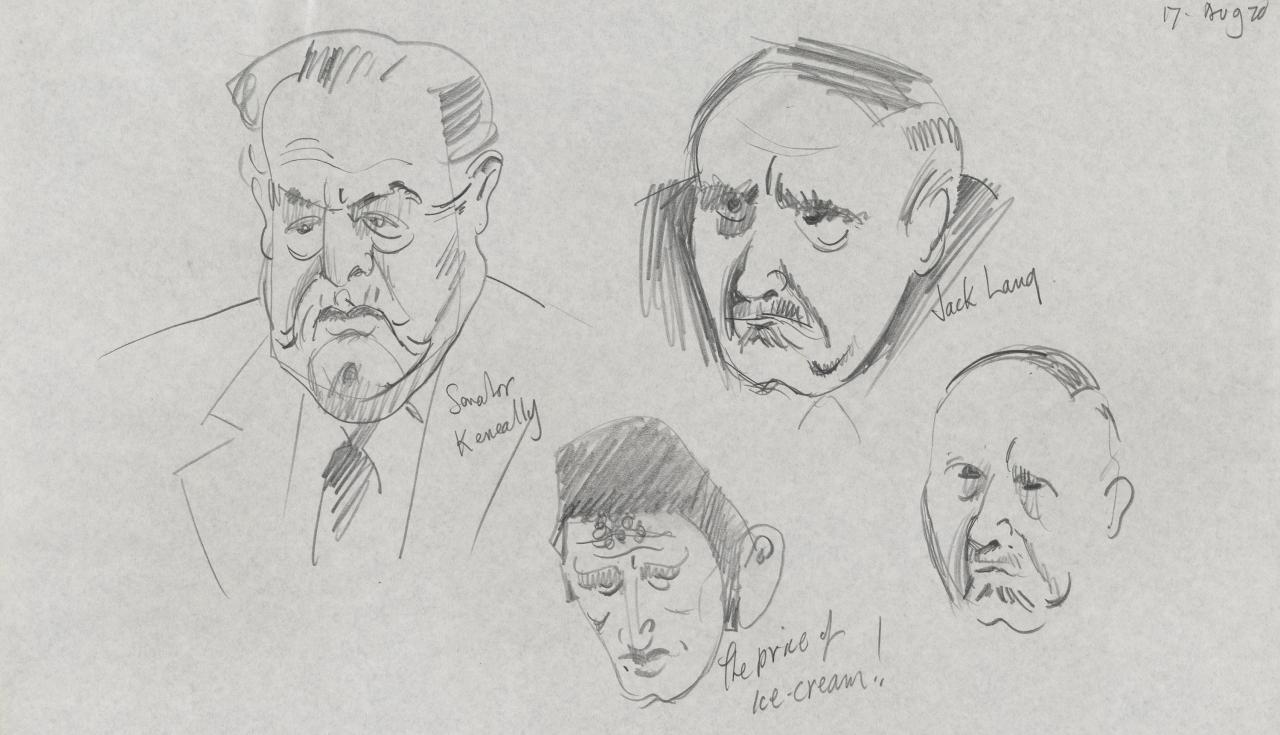 TV drawing: Senator Keneally; the price of ice-cream!; Jack Lang; (male portrait)