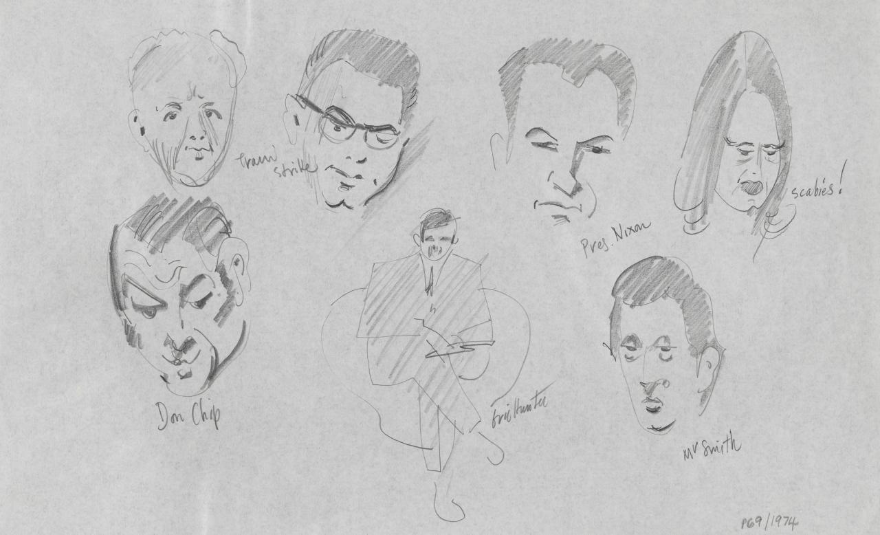 TV drawing: Don Chipp; Train strike; Eric Hunter; President Nixon; scabies!; Mr Smith